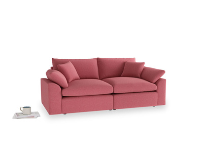 Medium Cuddlemuffin Modular sofa in Raspberry brushed cotton