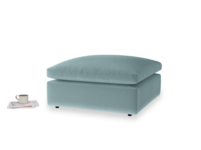 Cuddlemuffin Footstool in Lagoon clever velvet