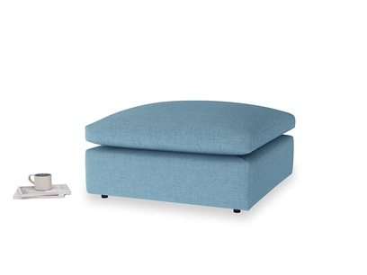 Cuddlemuffin Footstool in Moroccan blue clever woolly fabric