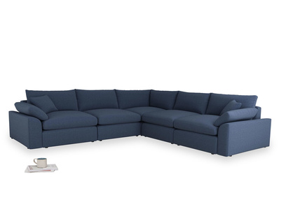 Even Sided Cuddlemuffin Modular Corner Sofa in Navy blue brushed cotton