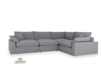 Large right hand Cuddlemuffin Modular Corner Sofa in Dove grey wool