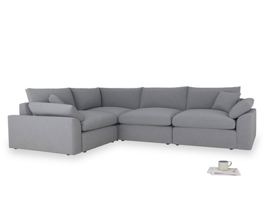 Large left hand Cuddlemuffin Modular Corner Sofa in Dove grey wool