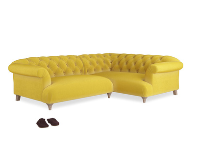 Large Right Hand Dixie Corner Sofa in Bumblebee clever velvet