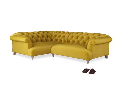 Large Left Hand Dixie Corner Sofa in Burnt yellow vintage velvet