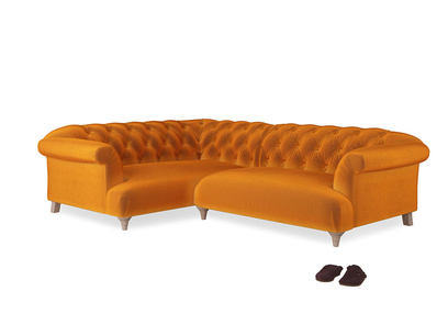 Large Left Hand Dixie Corner Sofa in Spiced Orange clever velvet