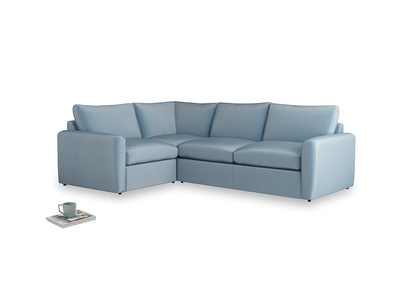 Large left hand Chatnap modular corner sofa bed in Chalky blue vintage velvet with both arms