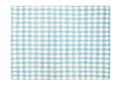 Waves patterned floor rug in Blue