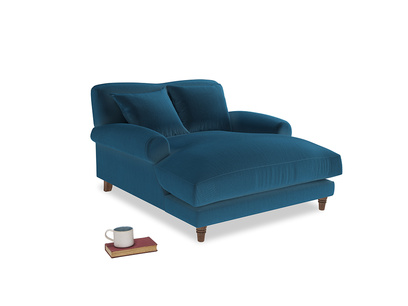 Crumpet Love Seat Chaise in Twilight blue Clever Deep Velvet