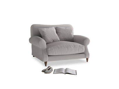 Crumpet Love seat in Mouse grey Clever Deep Velvet