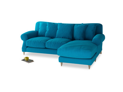 Large right hand Crumpet Chaise Sofa in Bermuda Brushed Cotton