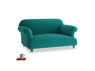 Small Soufflé Sofa in Indian green Brushed Cotton