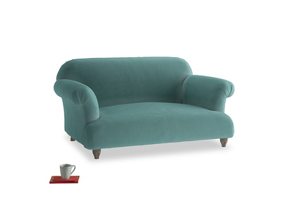 Small Soufflé Sofa in Aqua Clever Deep Velvet