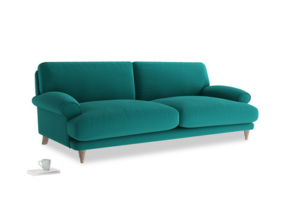 Large Slowcoach Sofa in Indian green Brushed Cotton