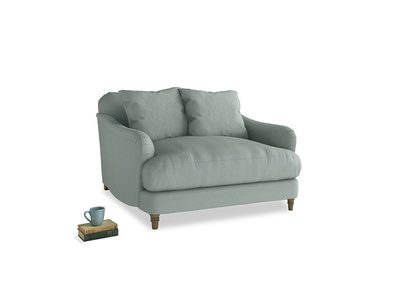 Achilles Love Seat in Sea fog Clever Woolly Fabric