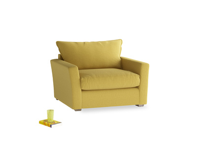 Pavilion Love Seat Sofa Bed in Maize Yellow Brushed Cotton