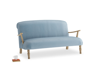 Medium Brew Sofa in Chalky blue vintage velvet