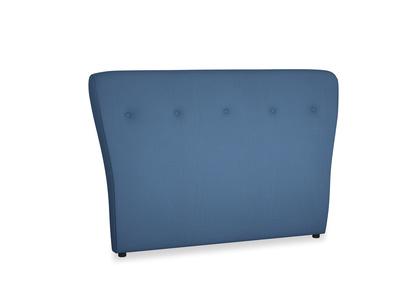 Double Smoke Headboard in True blue Clever Linen