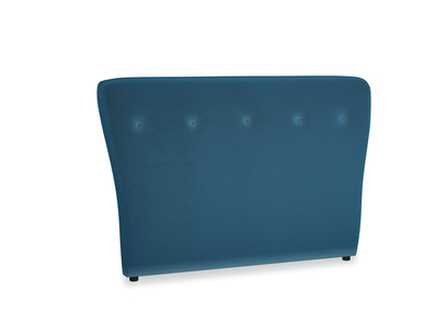 Double Smoke Headboard in Twilight blue Clever Deep Velvet