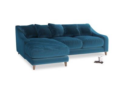 Large left hand Oscar Chaise Sofa in Twilight blue Clever Deep Velvet