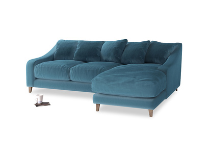Large right hand Oscar Chaise Sofa in Old blue Clever Deep Velvet