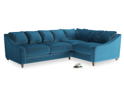 Large Right Hand Oscar Corner Sofa  in Twilight blue Clever Deep Velvet
