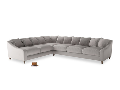 Xl Left Hand Oscar Corner Sofa  in Mouse grey Clever Deep Velvet