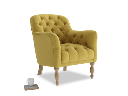 Reader Armchair in Maize yellow Brushed Cotton