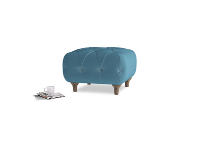 Small Square Dimple Footstool in Old blue Clever Deep Velvet