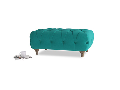 Rectangle Dimple Footstool in Indian green Brushed Cotton