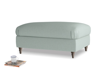 Rectangle Flatster Footstool in Sea fog Clever Woolly Fabric