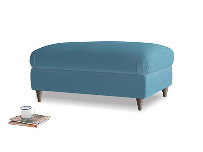 Rectangle Flatster Footstool in Old blue Clever Deep Velvet