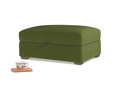Bumper Storage Footstool in Good green Clever Deep Velvet