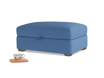 Bumper Storage Footstool in English blue Brushed Cotton