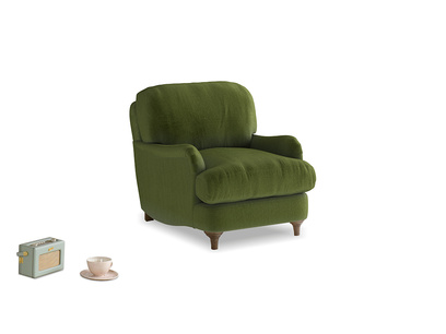 Jonesy Armchair in Good green Clever Deep Velvet