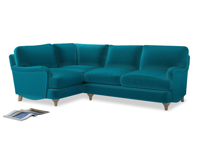 Large Left Hand Jonesy Corner Sofa in Pacific Clever Velvet