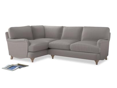 Large Left Hand Jonesy Corner Sofa in Mouse grey Clever Deep Velvet