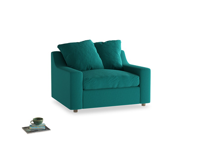 Cloud love seat sofa bed in Indian green Brushed Cotton