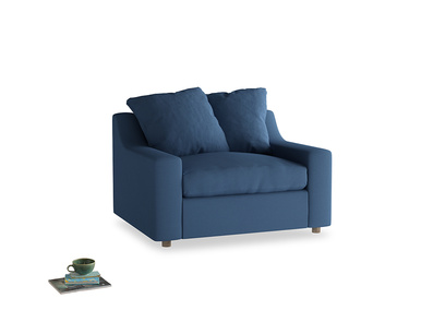 Cloud love seat sofa bed in True blue Clever Linen