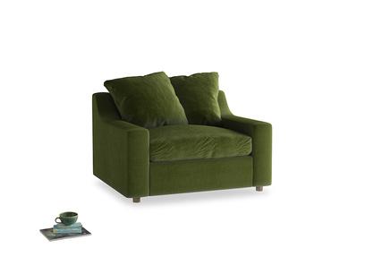 Cloud love seat sofa bed in Good green Clever Deep Velvet