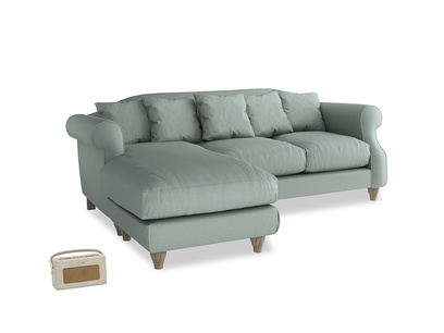 Large left hand Sloucher Chaise Sofa in Sea fog Clever Woolly Fabric