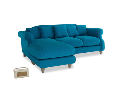 Large left hand Sloucher Chaise Sofa in Bermuda Brushed Cotton