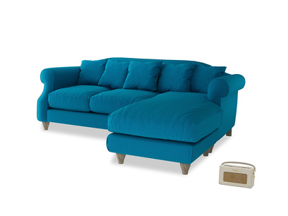 Large right hand Sloucher Chaise Sofa in Bermuda Brushed Cotton