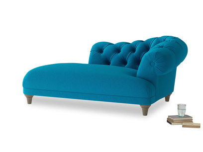 Right Hand Fats Chaise Longue in Bermuda Brushed Cotton