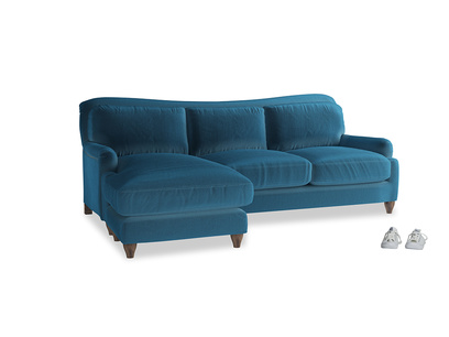 XL Right Hand  Pavlova Chaise Sofa in Twilight blue Clever Deep Velvet