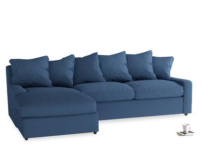 XL Left Hand  Cloud Chaise Sofa in True blue Clever Linen