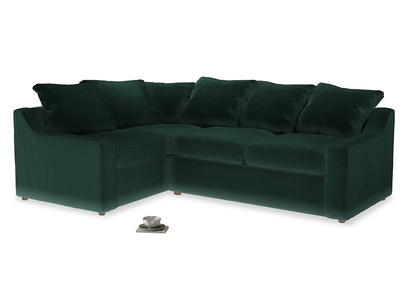 Large Left Hand Cloud Corner Sofa in Dark green Clever Velvet