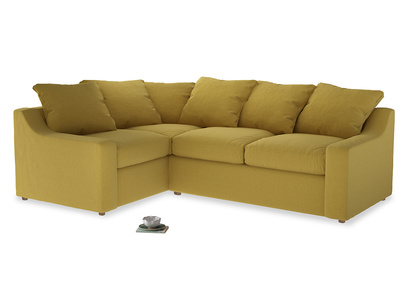 Large Left Hand Cloud Corner Sofa in Maize yellow Brushed Cotton