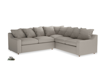 Even Sided Cloud Corner Sofa in Sailcloth grey Clever Woolly Fabric