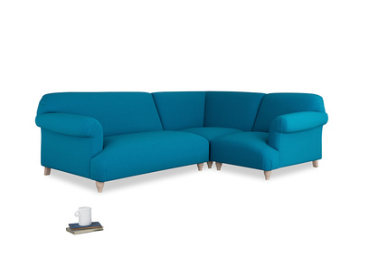 Large right hand Soufflé Modular Corner Sofa in Bermuda Brushed Cotton with both arms