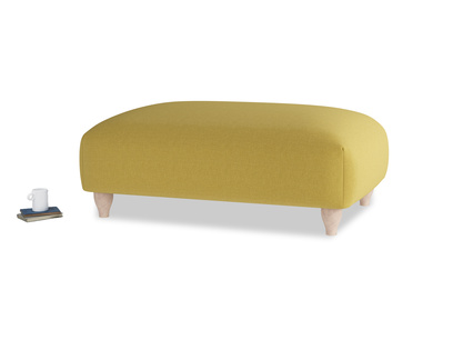 Soufflé Footstool in Maize yellow Brushed Cotton